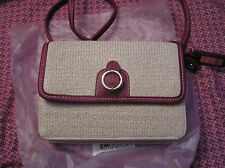 Etienne Aigner Purse Straw Fairy Ivory NWT Small Organizer Section Baguette