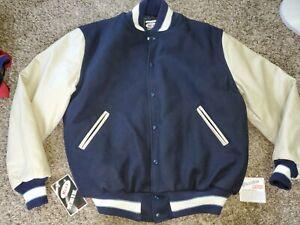 NWT NEFF Xavier Hawks Letterman Varsity Jacket Coat Men XL Wool Leather BLUE New