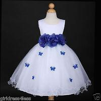 US Seller New White/Navy Blue Wedding Holiday Butterfly Petals Flower Girl Dress