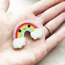 Wooden Glitter Rainbow Badge Brooch Pin UK Artist Maker