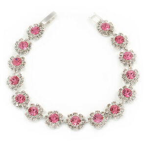 Light Pink/ Clear Austrian Crystal Floral Bracelet In Rhodium Plated Metal -
