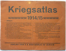 KRIEGSATLAS 1914/15 Brockhaus Leipzig mit 12 Karten