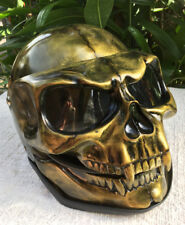 Motorcycle Helmet Skull Monster Death Visor Flip Up Ghost Rider Old Gold Unique