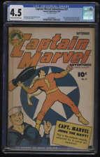 Captain Marvel Adventures #27 CGC 4.5 CR/OW Pg Shazam 1st Mister Mind Mr Fawcett