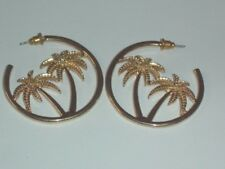Gold Tone Non Magnetic Paradise Palm Tree 3/4 Hoop Round Stud Pierced Earrings