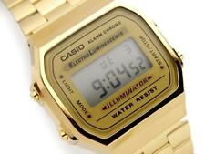 CASIO, A168WG-9, RETRO VINTAGE LOOK DIGITAL WATCH, GOLD TONE, STEEL BAND, UNISEX