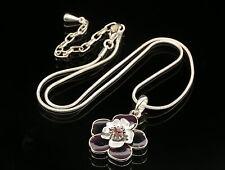 Charm purple crystal dark enamel flower pendant silver necklace fashion N02