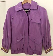 CLASS ROBERTO CAVALLI purple gold studded casual windbreaker jacket size 38 S