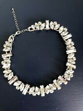 Stunning Chunky Crystal Diamonte Silver Tone Statement Necklace