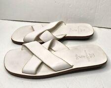 Vintage Polo Ralph Lauren White Leather Double Strap Sandals Slip On Mens 9.5 D