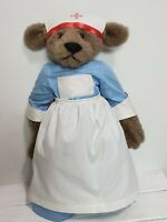 "Vintage Bearly There Inc USA Linda Spiegel 18"" Plush Jointed Bear Nurse Florence"