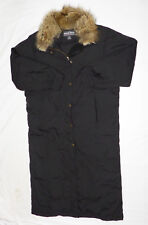 Woolrich Women's Down Puffer Parka Coat Medium Solid Black Removable Coyote Trim
