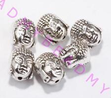 Free shipping 10pcs Metal Charms Sliver Buddha Head Spacer Beads 10x8mm
