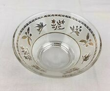 Vtg 60's Libbey ? Frosted Glass Bowl Gold Birds Berries Replacement for Chip Dip