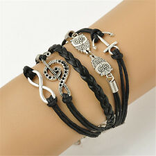 Vintage Infinity Bracelet Anchor Owl Charm Leather Wristband Jewelry Gift Black