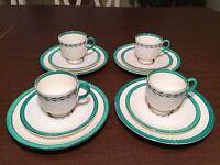 Vintage WEDGWOOD EDME Set 4: Green Band Demitasse Cups, Saucers & Dessert Plates