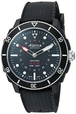 NEW ALPINA SEASTRONG SMART WATCH 44MM BLACK DIAL BLACK RUBBER STRAP AL-282LBB4V6