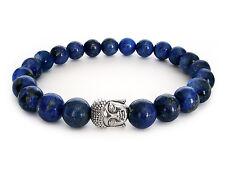 Handmade Semi Precious Stone Bracelet w/ Lapis Lazuli Beads & Silver Buddha Head