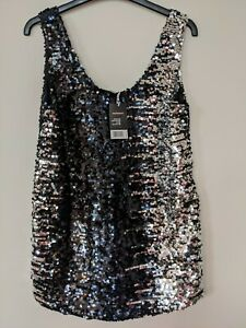 Esmara by Heidi Klum sleeveless black & silver sequin top size 10 new BNWT