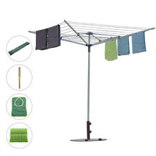 Drynatural Collapsible 4-arm Rotary Outdoor Umbrella Drying Rack Clothes Dryer