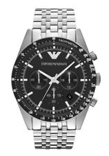 Emporio Armani Tazio Gents Chronograph Stainless Steel Black Dial Watch AR5988