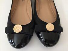 New! Michael Kors Dixie Ballet Flats Black Leather Cap Toe MK Logo Bow Sz 7.5 M