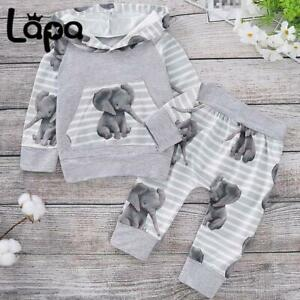 Lapa Newborn Baby Boys Tracksuit Hooded Tops Pants Trousers Outfits Clothes Set