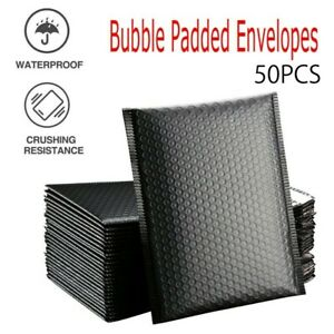 50Pcs Bubble Self Seal Mailers Padded Envelopes Bags Lined Poly Mailer Bag Black