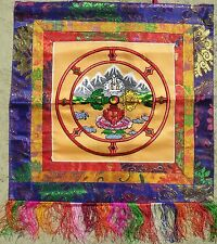 Gold Double Dorje Buddha Dharma Banner Wall-Hanging Colorful Silk Embroidery