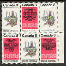 CANADA 572ii MISSING BIRD ON TOTEM POLE ERROR VARIETY IN BLOCK OF 6 VFNH