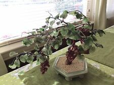 Vintage Chinese Jade Glass Grape Bonsai Tree  Ceylon blue pot