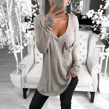 Women Tops Ladies Loose Tunic Fashion Tops Solid Plus Size Plain Blouse