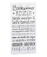 Wandschild Plankenschild Badezimmerregeln 60x30cm Vintage Motiv Schild Bad Holz