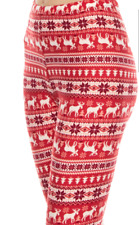 Snowflake Reindeer Christmas Leggings Red Holiday Print Buttery Soft ONE SIZE OS