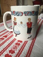 Bergquist Norwegian Figgjo Ceramic coffee mug Hardanger Dancers NORWAY tea HTF