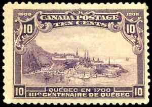 Canada #101 mint F-VF OG HR DG 1908 Quebec 10c violet Quebec in 1700 CV$200.00