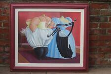 """Original huile sur carton par Sarah-Jane Szikora """"Le corset"""" signé et daté 96"""