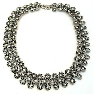 Vintage Costume Jewellery Silver Tone Crystal Flower Link Necklace