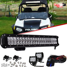 20inch 126W LED Light Bar Offroad+2x Pods+Wire POLARIS SPORTSMAN RZR XP1K RZR900