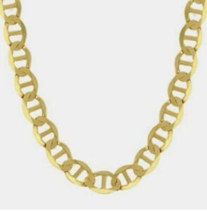 """14K Solid Gold Gucci Flat Mariner Chain 2.5-6mm Men Women Gucci Necklace 16""""-26"""""""