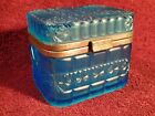 1903 ANTIQUE PRESSED BLUE GLASS TEA CADDY BOX PERLOV IMPERIAL RUSSIAN RUSSIA