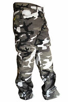 MENS GREY CAMO COTTON CARGO WITH KEVLAR MOTORBIKE MOTORCYCLE MOTOCROSS TROUSERS