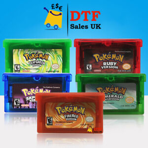 Pokemon FireRed Leaf Emerald Ruby Gameboy Cartridge Advance GB/GBA/NDSL UK Based
