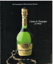 Publicité Advertising 1982 Comtes de Champagne Taittinger