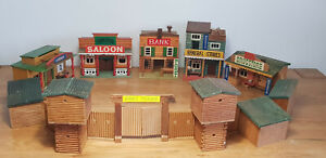 Wild West Western Fort Holz Fort 70er Gebäude Saloon Bank für Timpo Toys Vero 1
