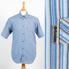 QUIKSILVER BLUE STRIPED MENS SHORT SLEEVE SHIRT CASUAL STRIPEY M