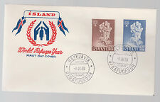 1960 Iceland First Day Cover FDC to # 325 326 World Refugee Year