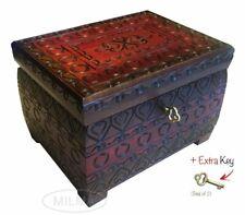 LOVE HEARTS Handmade Wooden Chest Box w/ Lock Linden Wood Jewelry Keepsake