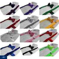 3 PIECE PACK = ADJUSTABLE SUSPENDERS BRACES & BOW TIE & MENS POCKET SQUARE HANKY