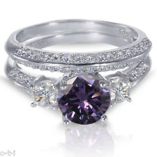 белое золото серебро бриллиант аметист обручальное кольцо Комплект